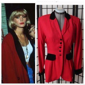 Vintage Red & black velour jacket blazer